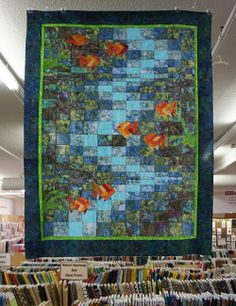 Molokini Bay quilt kit featuring Hoffman hand dyed batiks! #QuiltWeek #Paducah #Amazing