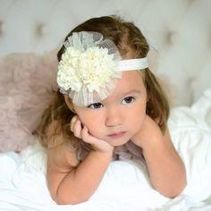 Headband Chiffon and Pearl Bow Baby Headband Color Options    Price: $8.99