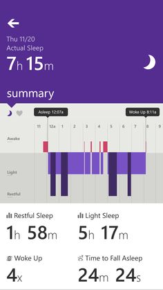 Microsoft Band. Concise and easy-to-understand Microsoft Band, L And Light, How To Fall Asleep, Mobile App, Bar Chart, Apps, Easy, Mobile Applications, Bar Graphs