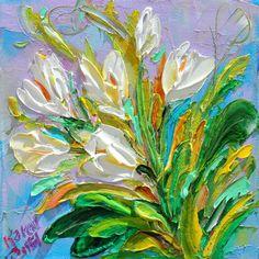 Original oil painting Spring Tulips 6x6 palette by Karensfineart