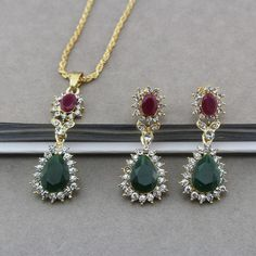Antique Gold Plated Necklace&Earrings Set