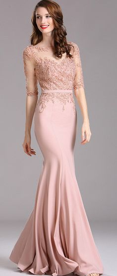 eDressit Blush Illusion Beaded Applique Formal Dress with Sweetheart