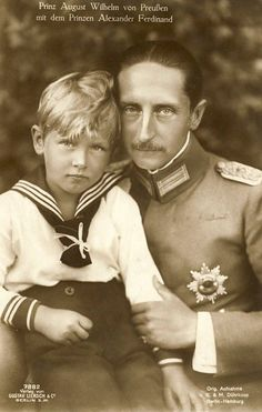 Prince August Wilhelm of Prussia with his son, Prince Alexander Ferdinand