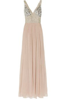 Ashleigh embellished silk-chiffon gown
