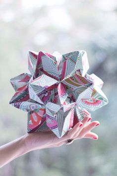 Origami Flower Ball Geometric Origami by LittleRayOfSunflower