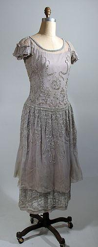 1920-22 Grey Silk Chiffon Dress with Passementerie