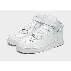 Shop online for Nike Air Force 1 Mid Junior in White with JD Sports, the UK's leading sports fashion retailer. Nike Air Force, Air Force 1 Mid, Jd Sports, Velcro Straps, New Wardrobe, White Nikes, Sport Fashion, White Leather, Trainers