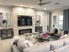 Family room details, custom fireplace built with stand alone cabinets. Fireplace Built Ins, Home Fireplace, Living Room With Fireplace, Fireplace Design, Custom Fireplace, Fireplace Modern, Fireplaces, Living Room Tv, Living Room Remodel