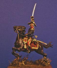 PARVIMILITES - Sito Personale di Mario Venturi  Il generale Jean-Baptiste Bessières al comando della cavalleria della Guardia Consolare francese a Marengo. Pezzo unico con utilizzo di materiali vari. 54 mm..