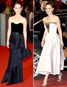 Portman premiered Knight of Cups in a strapless dress on Feb. 8, in Berlin. The next day, the actress stepped out once more -- this time in a blush cocktail dress with a golden beaded bodice.