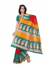 Shonaya Red,Green & Yellow Colour Bhagalpuri Silk Printed Saree With Unstitched Blouse Piece