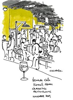 Venture cafe in Kendall Square Cambridge, Massachusetts,  (cafe sketch by Michael Cucurullo)