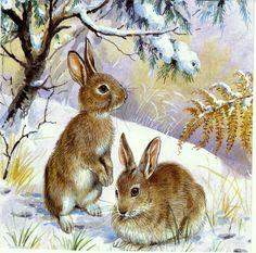 ru / Photo # 94 – Mice, bears, bunnies, hedgehogs … – … – About Hobby Sports Cross Paintings, Animal Paintings, Animal Drawings, Cute Baby Animals, Animals And Pets, Lapin Art, Bunny Painting, Hunting Art, Rabbit Art