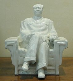 Ceramic Statue of Chairman Mao in Chair
