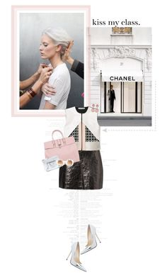 """kiss my class."" by gab-ree-ella ❤ liked on Polyvore featuring Chanel, Jimmy Choo, Stella Nova, Balenciaga, Wildfox, round sunglasses, metallics, top handle bags, teardrop earrings and pointed-toe pumps"