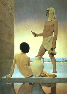 Maxfield Parrish - Egypt   Maxfield Parrish was an American painter and illustrator active in the first half of the twentieth century. He is known for his distinctive saturated hues and idealized neo-classical imagery.