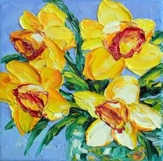 Daffodil Art Small Oil Painting Yellow Flower by NuuPaletteKnife