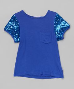 Look at this #zulilyfind! Royal Blue Sequin-Sleeve Tee - Infant, Toddler & Girls by Lady's World #zulilyfinds