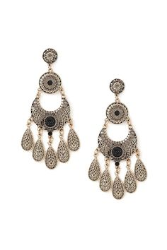 A pair of etched filigree chandelier earrings in a matte finish with faux gems and post backs. #accessorize