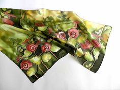 Hand painted silk scarf This green scarf with natural motive is hand painted on silk in different shades of green and red, it makes you feel as if woodland is around you. I need 5-6 days to paint a new scarf like this for You! The colors are fixed and permanent, the hems are