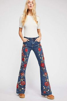 fe84dda1aa8dd Driftwood Farrah All Embroidered Flare Jeans  jeans