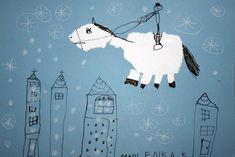 Svatý Martin na bílém koni. Vytvořili předškoláci v našem výtvarném studiu. Vytrhaný nalepený kůň, tuš, bílá pastelka. Martini, Studios, Snoopy, Fictional Characters, Fantasy Characters, Martinis