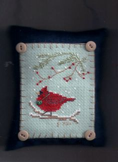 December Cardinal-Button Up Birdies series-design by Cathy Jean Victoria Sampler- stitched by Joyce Cross Stitch Christmas Ornaments, Xmas Cross Stitch, Cross Stitch Love, Beaded Cross Stitch, Christmas Cross, Cross Stitching, Cross Stitch Embroidery, Cross Stitch Patterns, Family Ornament