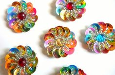 Sew on Beaded Floral Applique.Iridescent Cup Sequin Applique Flower 3D