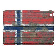 Norwegian Flag on Rough Wood Boards Effect iPad Mini Covers
