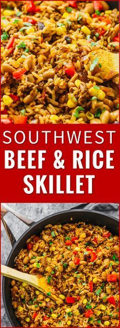 Southwest Beef and Rice Skillet - Savory Tooth - Southwest beef and rice skillet – This tasty Southwest skillet has ground beef, rice, peppers, on - Ground Beef Rice, Dinner With Ground Beef, Beef And Rice, Ground Beef Recipes, Ground Turkey, 1 Lb Ground Beef Recipe, Recipes With Hamburger And Rice, Recipes With Pinto Beans, Pinto Beans And Rice