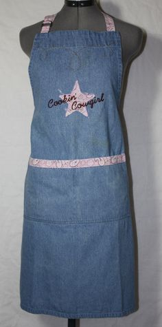 Vintage Denim Bib Apron,  Cowgirl Theme by Kay Dee, 1980's Era on Etsy, $18.00