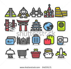 stock vector : Simple series | Travel,landmarks,trip,business travel icon set