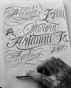 Pin di daniele gave su chicago lettering Tattoo Writing Fonts, Tattoo Lettering Fonts, Tattoo Script, Lettering Styles, Lettering Design, Hand Lettering, Gothic Lettering, Chicano Lettering, Tattoo Alphabet