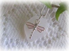 SS & Crystal Pink Dragonfly White Lake Erie Beach Glass Pendant Necklace  $34.95