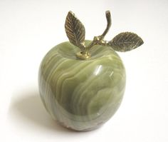 Vintage Carved Green Onyx Apple Paperweight by TheWhistlingMan