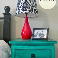 Bedroom Interior ~ 20's Cheering Teal Bedroom Decoration Ideas And Inspiration: In Vogue Handmade Queen Bed Headboard With White Comforter And Teal Bedside Table Also Cool Red Shade Lights Feat Family Picture Frames As Teal Bedroom Furnishings Decors