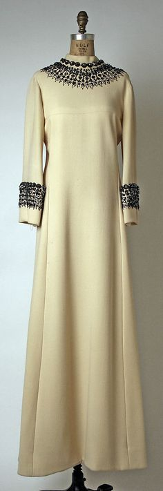 Evening dress, House of Balmain, 1966. Worn by Katharine Graham to Truman Capote's Black and White Ball given in her honor.