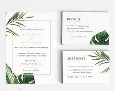 Modern Botanical Wedding Invitation Suite Wedding Invitation