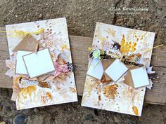 Lovely pages for placing photos, by Olga. She has used several of our leaf stamps to make the pretty background and embellishments.