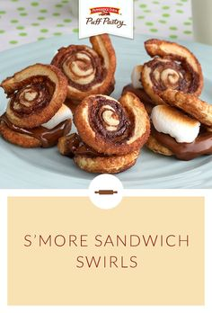Pepperidge Farm Puff Pastry S'mores Sandwich Swirls Recipe. Who says you need to wait for summer to make s'mores! Check out this unique twist on a classic favorite. Warm, sweetened Puff Pastry slices, marshmallows and chocolate combine to create a dessert that is unbelievably scrumptious. These make an unforgettable Graduation Party dessert.