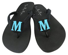 b636194fb4d0f Turquoise Glitter Bridesmaid Flip Flops Customize with Initial    Click  image for more details.