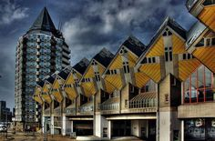 More weird houses; cubic houses in Rotterdam, the Netherlands Rotterdam Netherlands, Holland Netherlands, Crazy Houses, Weird Houses, Dresden Germany, Famous Architects, Delft, Windmill, Luxury Holidays