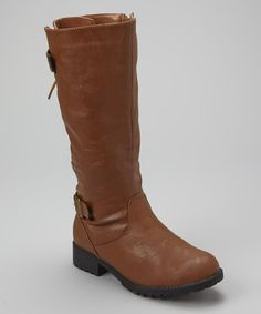 Take a look at this Cognac Back Lace-Up Boot by Carrini on #zulily today!