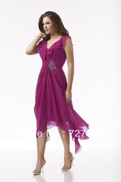 New Groom Mother of the Bride Dresses Beach Style Tea Length Fushia Chiffon V Neck Beaded Free Shipping MB330 on Aliexpress.com