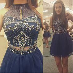 Sexy Halter Navy Blue Tulle Sleeveless Knee Length Beaded Short Prom / Homecoming Dress