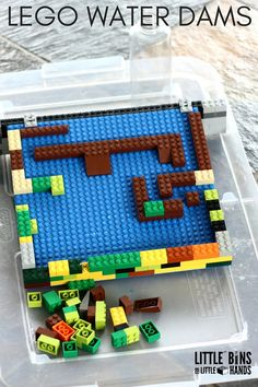 LEGO Water Dam activity for kids. Water Experiments For Kids, Science For Kids, Science Activities, Activities For Kids, Science Education, Science Experiments, Preschool Activities, Stem Projects, Lego Projects