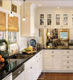 white cabinets, wood floor, black counter-my absolutely favorite kitchen combo! Kitchen Redo, Kitchen And Bath, New Kitchen, Kitchen Remodel, Kitchen Dining, Kitchen White, Dining Room, Kitchen Countertops, Kitchen Cabinets