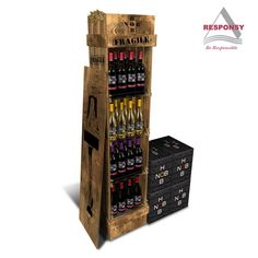 Custom flooring wine store wooden wine bottle display stand 1. Material: solid wood for this wine bottle display stand (changeable); 2. Flooring structure, size and height is according to your products; 3. Solid wood material, strong and stable structure, large weight capacity; 4. Logo, header and poster can be added to this rack; 5. Surface treatment: customized (ordinary appearance/oil painting) 6. CUstomized design; http://www.responsydisplay.com/news/ProductDetail-83-1317-36.html