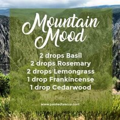 Mountain Mood Diffuser Blend | Fall Essential Oil Diffuser Blend | Basil, Rosemary, Lemongrass, Frankincense, Cedarwood essential oils #essentialoil