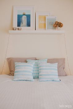 Menina Lisboa Throw Pillows & Prints (The Blue Whale is Terry Fan's Illustration), perfect for a Spring makeover on the bedroom!